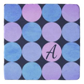 Blue Purple & Pink Circles Monogram Trivet