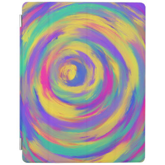 Blue Purple Pink Yellow Spiral Abstract Art Design iPad Cover