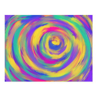 Blue Purple Pink Yellow Spiral Abstract Art Design Postcard