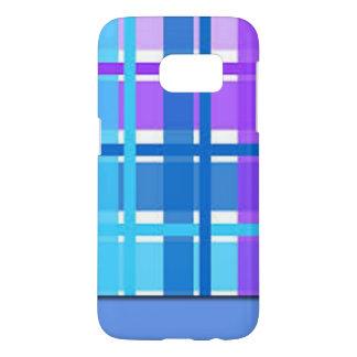 Blue & Purple Plaid Design Samsung Galaxy S7 Case