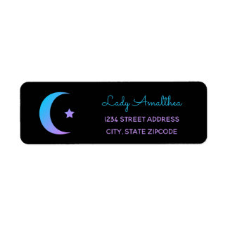 Blue & Purple Rainbow Moon And Star Address Label