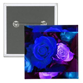 Blue Purple Rose Button Pinback Buttons