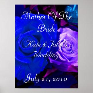 Blue Purple Rose Poster