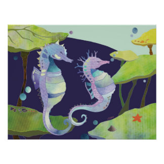 Blue Purple Sea Horses Under the Sea Poster