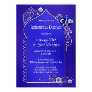Blue Purple Silver Henna Rehearsal Dinner Invite