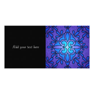 Blue Purple Stainded Glass Style Design Photo Cards
