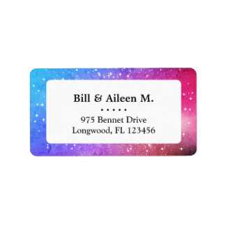 Blue purple starry galaxy sky label