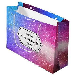Blue purple starry galaxy sky large gift bag