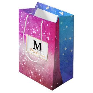 Blue purple starry galaxy sky medium gift bag