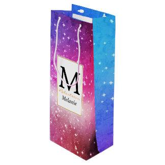 Blue purple starry galaxy sky wine gift bag