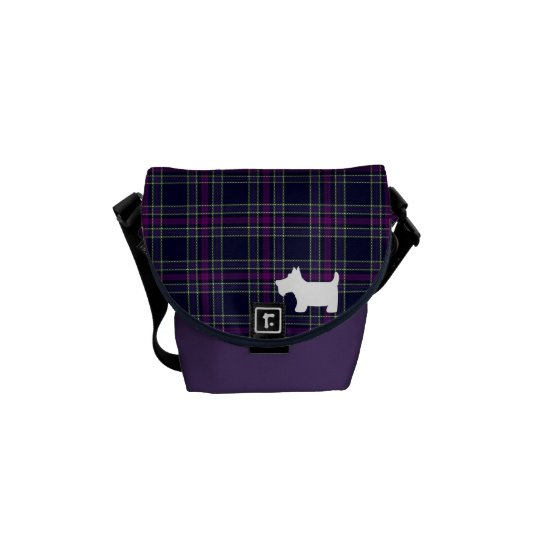 Blue & Purple Tartan Plaid with Scottie Dog Courier Bag