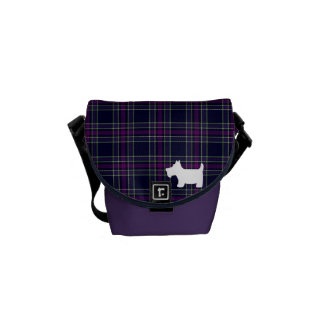 Blue & Purple Tartan Plaid with Scottie Dog Messenger Bag