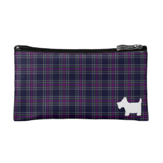Blue & Purple Tartan with  Scottie Dog Silhouette Makeup Bag