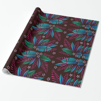Blue & Purple Tropical Flowers and Ferns Wrapping Paper