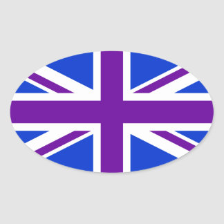 Blue Purple Union Jack Oval Sticker