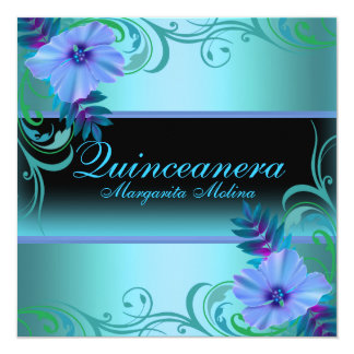 Blue & Purple Vibrant Flower Quinceanera Invite
