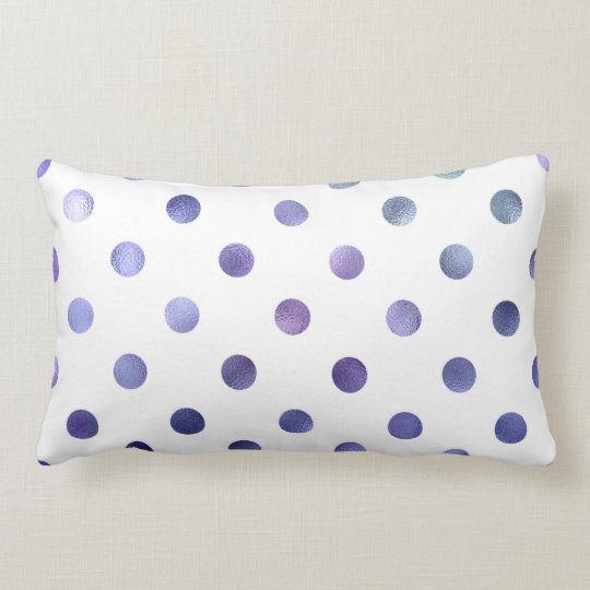 Blue Purple Violet Metallic Faux Foil Polka Dot Lumbar Pillow