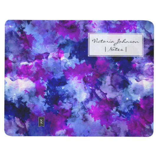Blue purple watercolor brushstrokes modern journal