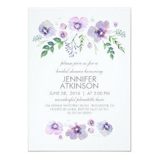 Blue Purple Watercolor Flowers Bridal Shower Card