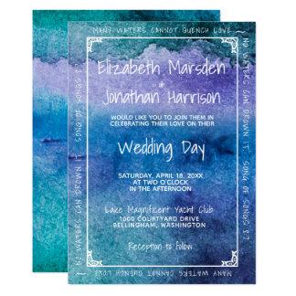 Blue Purple Watercolor Love Modern Elegant Wedding Card