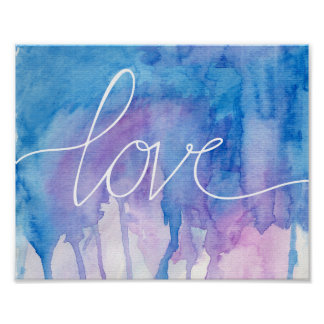 Blue & Purple Watercolor - Love | Poster