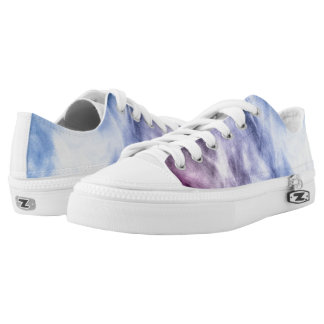Blue purple white abstract heavenly clouds Low-Top sneakers
