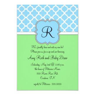 Blue Quatrafoil Monogram Sip and See Invitation