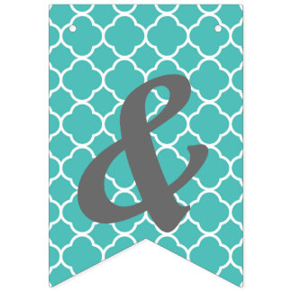 Blue Quatrefoil Bunting Customize Bunting Flags