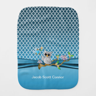 Blue Quatrefoil Designs with Baby Owls Burp Cloth