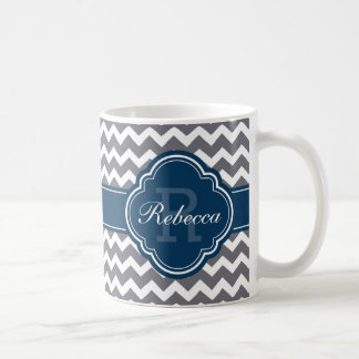 Blue Quatrefoil Monogram Gray Chevron Pattern Coffee Mug