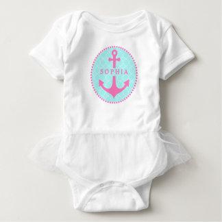 Blue Quatrefoil + Pink Anchor Tutu Bodysuit