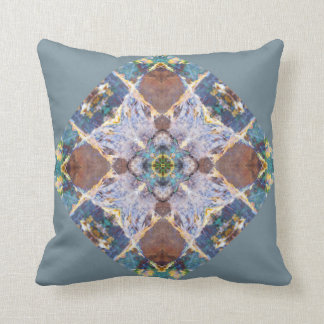 Blue Quilt Block Pillow with solid brown back