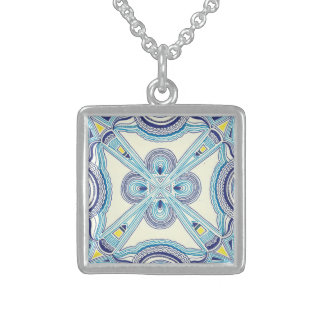 Blue quilt pattern sterling silver necklace