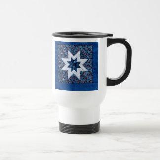 blue quilt star commuter mug