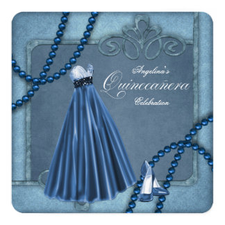 "Blue Quinceanera 5.25"" Square Invitation Card"