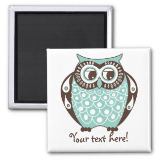 Blue Quirky Tawny Owl Customizable Magnet