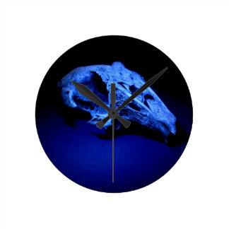Blue Rabbit Skull Clock