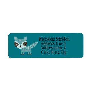 Blue Raccoon Custom Return Address Labels