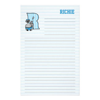 "Blue Raccoon Mongram ""R"" Lined Stationery"