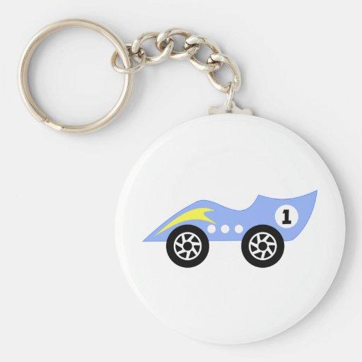 Blue Race Car Keychains