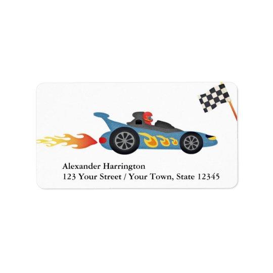 Blue Race Car Label
