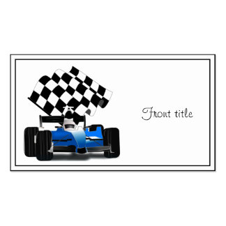 Blue Race Car with Checkered Flag Business Card Template