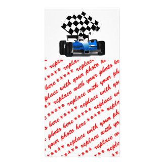 Blue Race Car with Checkered Flag Photo Cards
