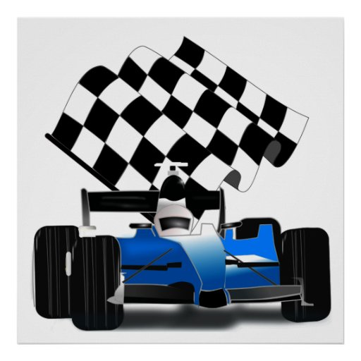 Blue Race Car with Checkered Flag Posters