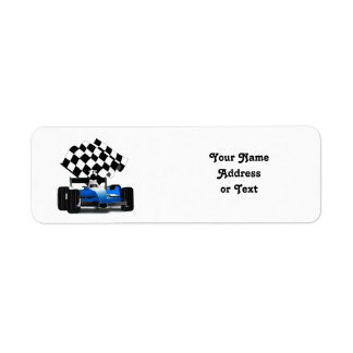Blue Race Car with Checkered Flag Return Address Label
