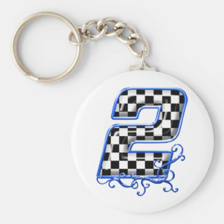 blue racing number 2 basic round button keychain