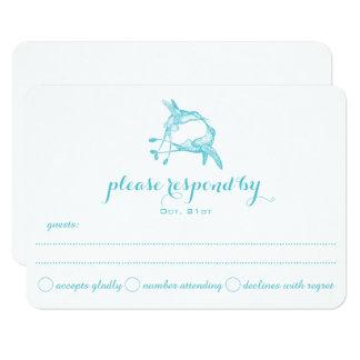 Blue Radiance Hummingbird Kiss Wedding RSVP Card