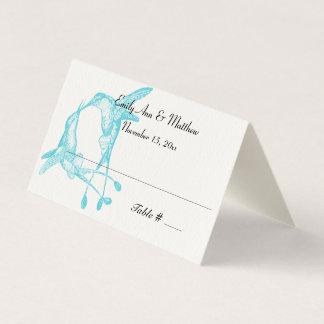 Blue Radiance Hummingbird Wedding Place Cards