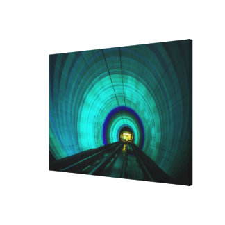 Blue railroad tunnel, Singapore Canvas Print