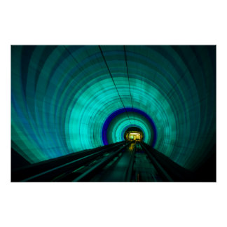 Blue railroad tunnel, Singapore Poster